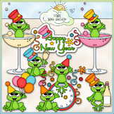 Happy New Year Frogs - CU Clip Art & B&W Set