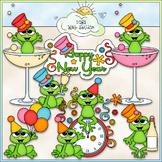 Happy New Year Frogs - CU Clip Art & B&W Set