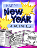 Happy New Year! Graphic Organizers: Busy Work / Cut & Glue (9 Fun Activities)