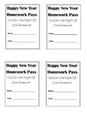 Happy New Year Homework Pass - generic FREEBIE
