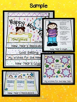 Happy New Year! Interactive Flipbook Kit- Goal Setting-Wishes-Glyph