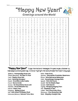 Happy New Year - International World Language Word Search Puzzle