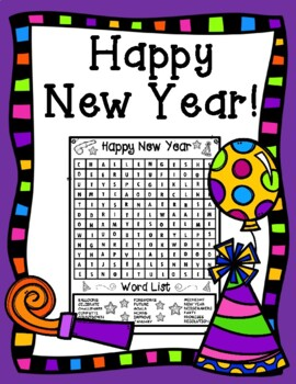 Happy New Year Kid Friendly Word Search
