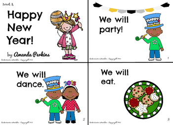 Happy New Year Leveled Emergent Reader {Sight Word} Mini-Book (Levels A-D)