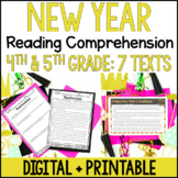 New Year Reading Comprehension Passages - Digital New Year Activities