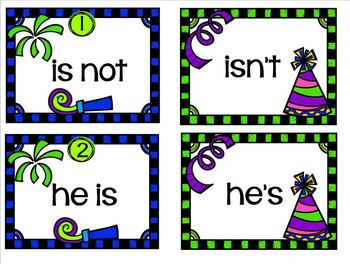 Happy New Year Literacy Station Contractions
