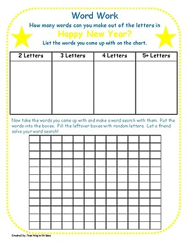 Happy New Year:  Making Words and Extension Activity