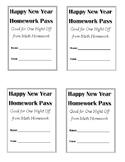 Happy New Year Math Homework Pass - Freebie