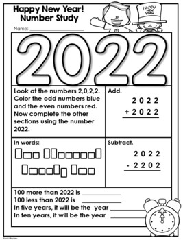 Happy New Year!  Math & Literacy Activity Pages Workbook