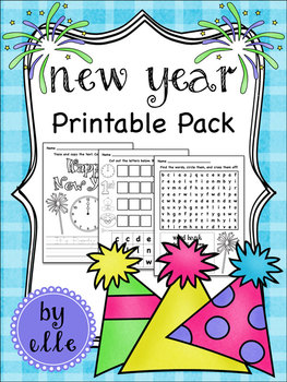 Happy New Year Math and Literacy Printable Pack