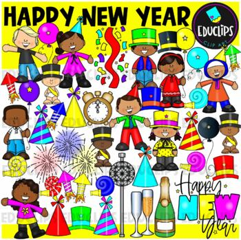 Happy New Year Clip Art Bundle {Educlips Clipart}