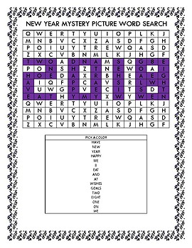 Happy New Year Mystery Picture Word Search