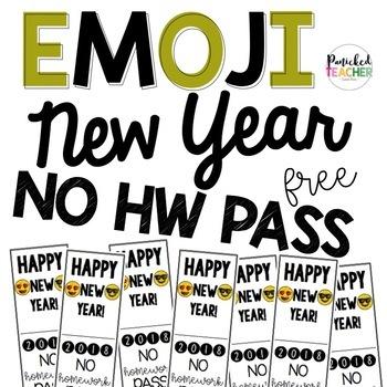 Happy New Year NO HW Pass Freebie