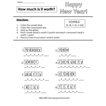 Happy New Year Packet 2018 Edition (FIRST GRADE)