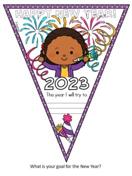 "FREEBIE ""Happy New Year!"" Pennant Banner Worksheet 2017"
