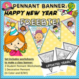 "FREEBIE ""Happy New Year!"" Pennant Banner Worksheet 2018"