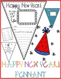 HAPPY NEW YEAR Pennant & PARTY HAT Drawing