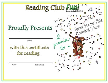 Happy New Year Reading Log and Certificate Set
