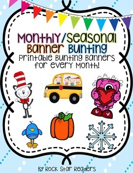 Monthly and Seasonal Banner Bunting Activities and Writing