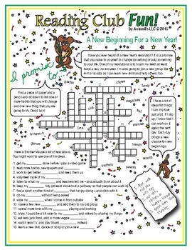 Happy New Year Resolutions Crossword Puzzle