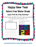 Happy New Year Return from Winter Break Writing Prompts & Math Activities
