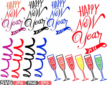 Happy New Year SVG clipart Champagne Cheers 2017 new year's eve Holiday  528s