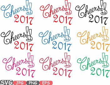 Happy New Year SVG clipart Champagne Cheers 2017 new year's eve Holiday 529s