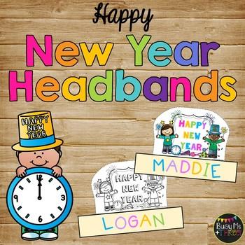 Happy New Year Sentence Strip Headband {Black Line & Color}