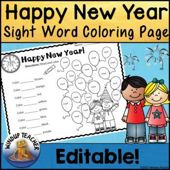 Happy New Year Sight Word Activity Sheet  *Editable*