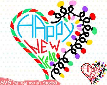 Happy New Year Silhouette Studio3 SVG  clipart Santa's Magic Holidays -68sv