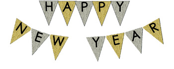 Happy New Year Silver and Gold Bulletin Board Banner Pennant Bunting