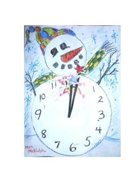Happy New Year Snowman Clock