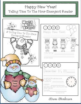 Happy New Year! Telling Time To The Hour Emergent Reader