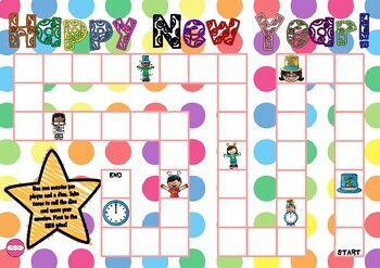 Happy New Year Themed Game Board