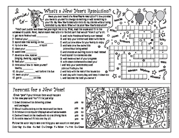 Happy New Year Two-Page Activity Set