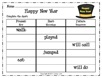 Happy New Year--Verb Tense Game