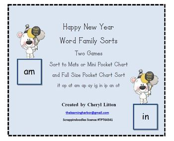 Happy New Year Word Family Sorts