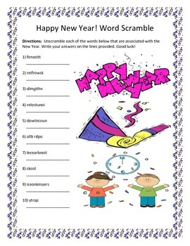 Happy New Year Word Scramble 10 Words