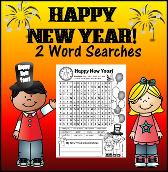 Happy New Year Word Search - 2 levels
