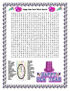 Happy New Year Word Search- Harder 30 Words