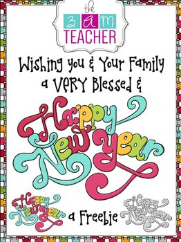Happy New Year's Typography Clip Art Freebie by The 3AM Teacher!!