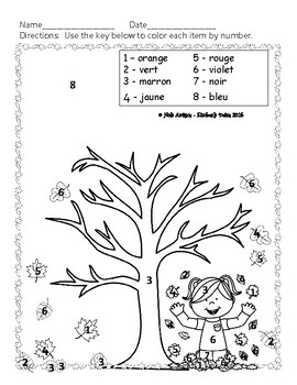 Joyeux octubre! Happy October! - 6 Color by number pages in FRENCH