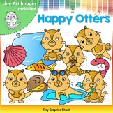 Happy Otters Clip Art