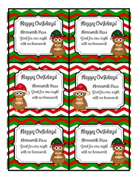 Happy Owlidays Christmas Homework Pass