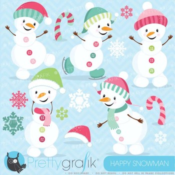 Happy PINK Snowman clipart commercial use, vector graphics - CL620