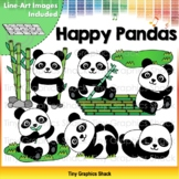 Happy Pandas Clip Art