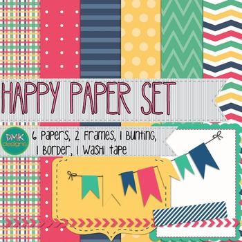 Digital Paper and Frame Set- Happy