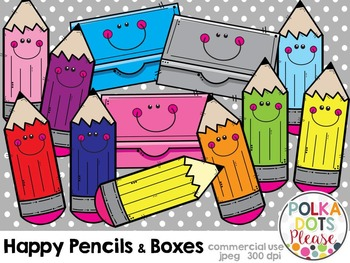 Happy Pencils and Pencil Boxes {Graphics for Commercial Use}