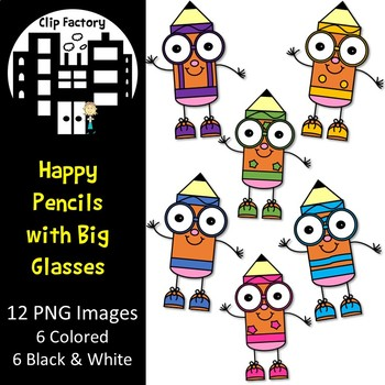 Happy Pencils with Big Glasses
