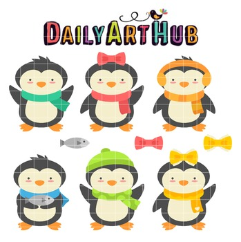 Happy Penguins Clip Art - Great for Art Class Projects!
